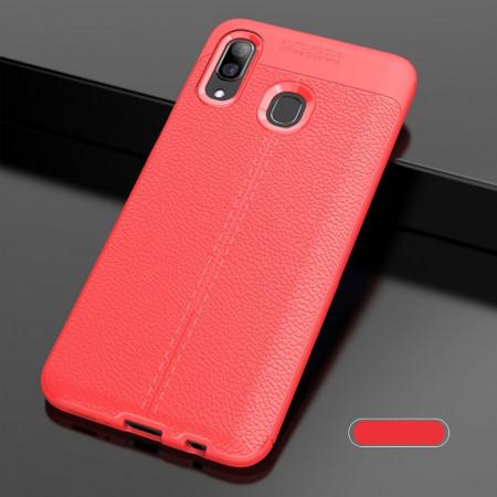 Husa Samsung Galaxy A40 Rosie din TPU cu Design de Tip Piele