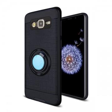 Husa Samsung Galaxy J3 (2016) Neagra Dublu Strat Cu Inel Rotativ