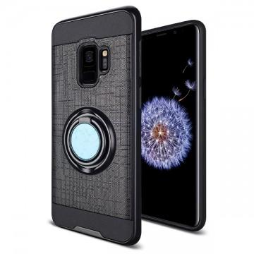 Husa Samsung Galaxy S9 Neagra Dublu Strat Cu Inel Rotativ
