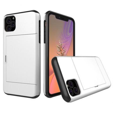 Husa iPhone 11 Pro Alba Antisoc Cu Buzunar Pentru Card