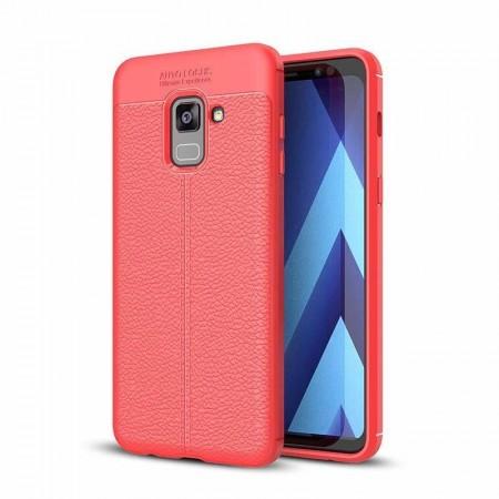 Husa Samsung Galaxy A8 PLUS Rosie din TPU cu Design de Tip Piele