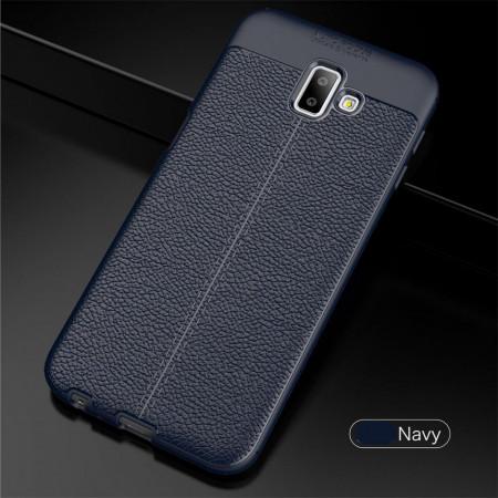 Husa Samsung Galaxy J6 PLUS Bleumarin din TPU cu Design de Tip Piele