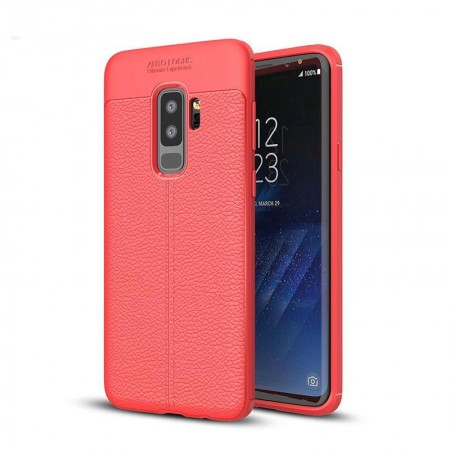 Husa Samsung Galaxy S9 PLUS Rosie din TPU cu Design de Tip Piele