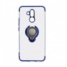 Husa Huawei MATE 20 LITE Silicon Transparenta cu Inel Rotativ si Margini Albastre