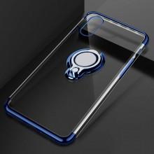 Husa iPhone X sau XS din Silicon Transparenta cu Inel Rotativ si Margini Albastre