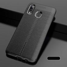 Husa Samsung Galaxy A40 Neagra din TPU cu Design de Tip Piele