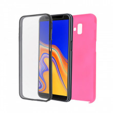 Husa Samsung Galaxy A5 (2018) - 360 Fully cu Spate din Policarbonat si Folie din Silicon - Roz