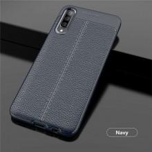 Husa Samsung Galaxy A70 | A70s Bleumarin din TPU cu Design de Tip Piele