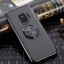 Husa Samsung Galaxy S9 din Silicon Transparenta cu Inel Rotativ si Margini Negre