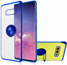 Husa Samsung S10e Silicon Transparenta cu Inel Rotativ si Margini Albastre
