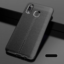 Husa Huawei Y6 | Y6 PRO (2019) - Husa Neagra din TPU cu Design de Tip Piele
