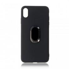 Husa iPhone XS Max Neagra Din Silicon Cu Inel Oval