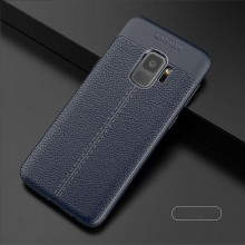 Husa Samsung Galaxy S9 Bleumarin din TPU cu Design de Tip Piele