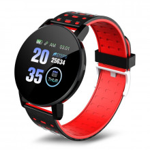 Smartwatch 119 Plus, iOS /Android, Bluetooth, Fitness Tracker, Negru/Rosu