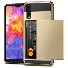 Husa Huawei P20 Gold Antisoc Cu Buzunar Pentru Card