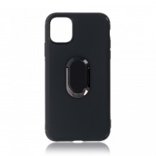 Husa iPhone 11 Neagra Din Silicon Premium Cu Inel Rotativ