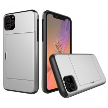 Husa iPhone 11 Pro Silver Antisoc Cu Buzunar Pentru Card