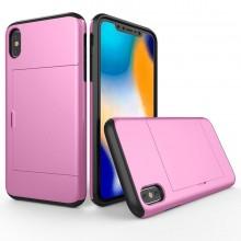 Husa iPhone X sau XS Roz Antisoc Cu Buzunar Pentru Card