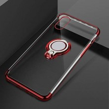Husa iPhone XR din Silicon Transparenta cu Inel Rotativ si Margini Rosii
