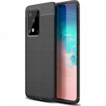 Husa Samsung Galaxy S20 ULTRA - Husa Neagra din TPU cu Design de Tip Piele