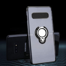 Husa Samsung S10e Silicon Transparenta cu Inel Rotativ cu Contur si Margini Negre