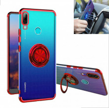 Husa Huawei P SMART 2019 | Honor 10 LITE - Husa Silicon Transparenta cu Inel Rotativ si Margini Rosii