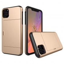 Husa iPhone 11 Gold Antisoc Cu Buzunar Pentru Card
