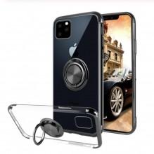 Husa iPhone 11 Pro din Silicon Transparenta cu Inel Rotativ si Margini Negre