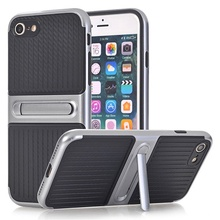 Husa iPhone 6 si 6S Carbon Texture Silver Cu Suport Wide