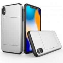 Husa iPhone X sau XS Argintie Antisoc Cu Buzunar Pentru Card