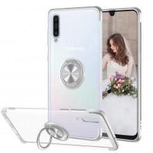Husa Samsung Galaxy A50 | A50s | A30s din Silicon Transparenta cu Inel Rotativ si Margini Argintii
