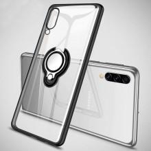 Husa Samsung Galaxy A50 | A50s | A30s din Silicon Transparenta cu Inel Rotativ Contur si Margini Negre