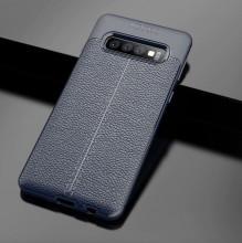 Husa Samsung Galaxy S10 PLUS Bleumarin din TPU cu Design de Tip Piele