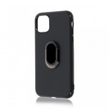 Husa iPhone 11 Pro Neagra Din Silicon Premium Cu Inel Rotativ