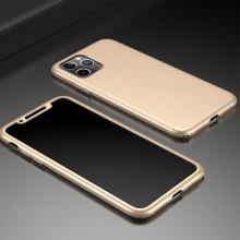 Husa iPhone 11 Pro Gold 360° Matte Premium Ultra Slim Cu Folie De Sticla