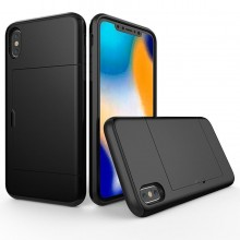 Husa iPhone X sau XS Neagra Antisoc Cu Buzunar Pentru Card