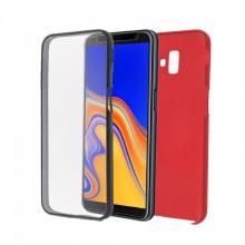 Husa Samsung Galaxy A5 (2018) - 360 Fully cu Spate din Policarbonat si Folie din Silicon - Rosu