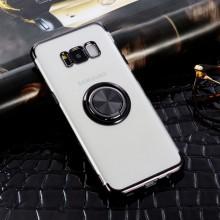 Husa Samsung Galaxy S8- din Silicon Transparenta cu Inel Rotativ si Margini Negre