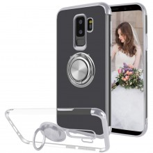 Husa Samsung Galaxy S9 PLUS din Silicon Transparenta cu Inel Rotativ si Margini Argintii