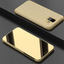 Husa Samsung Galaxy J4 PLUS Book Cover Clear View Stand Gold