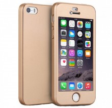 Husa iPhone 5 si 5S SE Gold 360° Matte Premium Ultra Slim cu Folie de Sticla