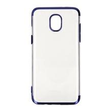 Husa Samsung Galaxy J3 (2017) Transpatenta De Silicon Cu Margini Albastre