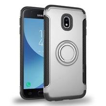 Husa Samsung Galaxy J7 (2017) Silver Carbon Cu Inel Rotativ