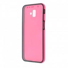 Husa Samsung Galaxy J6 PLUS - 360 Fully cu Spate din Policarbonat si Folie din Silicon - Rose