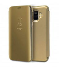 Husa Samsung Galaxy J6 PLUS Book Cover Clear View Stand Gold