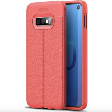 Husa Samsung Galaxy S10e - Husa Rosie din TPU cu Design de Tip Piele