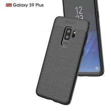 Husa Samsung Galaxy S9 PLUS Neagra din TPU cu Design de Tip Piele