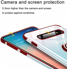 Husa Samsung S10e Silicon Transparenta cu Inel Rotativ cu Contur si Margini Rosii