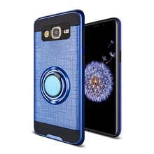 Husa Samsung Galaxy J3 (2016) Albastra Dublu Strat Cu Inel Rotativ