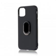 Husa iPhone 11 Pro Max Neagra Din Silicon Premium Cu Inel Rotativ